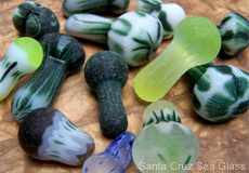 Mushroom shaped sea glass shards.