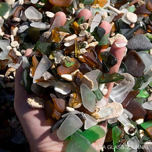 A handful of sea glass.