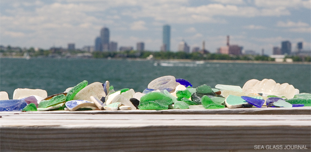 Sea Glass with the city of Boston in the Background